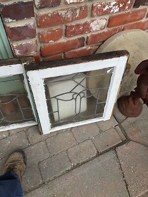 Sg 343 Matched Pair Antique Leaded Glass Windows 4
