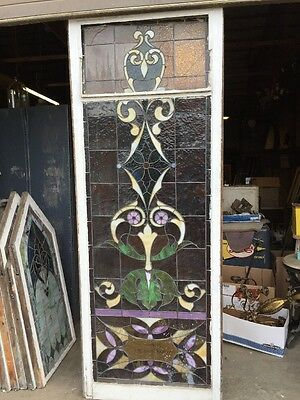 "Ca 9 Antique Stained Glass Landing Window 36"" X 8' 11"