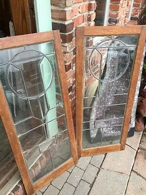 Sg 953 Matched Pair Antique Beveled Glass Leaded Glass Bookcase Doors 7