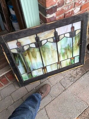 Sg 404 Arts And Crafts Antique Stainglass Window 8