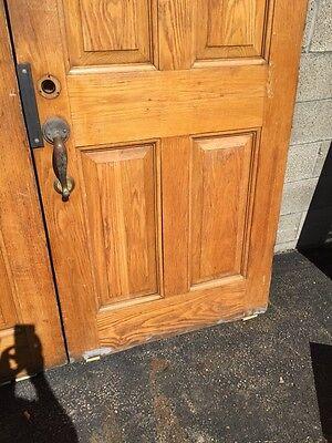Cm 22 One Pair Antique Very Heavy Raise Panel Oak Entrance Doors 5