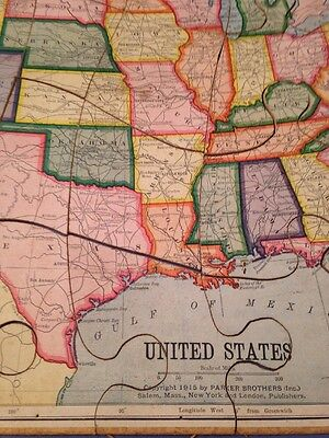 Antique 1915 Parker Brothers United States Map Puzzle 59 99
