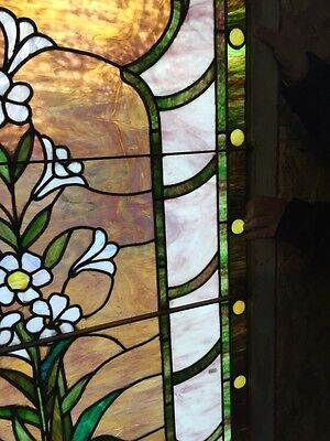 Sg 10 Gorgeous Antique Floral Landing Window Victorian Stained Glass 8