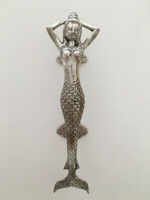 "SILVER medium MERMAID brass door PULL old style heavy house PULL handle 13"" B 2"