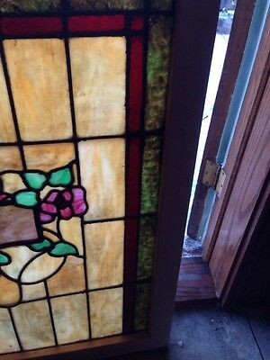 Sg 120 Antique Stain Glass Windows Roses And Foliage 6