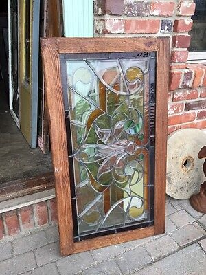 Sg 308 Two Available Price Each Antique Stained And Double Glass Transom Windows