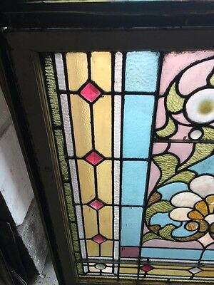 Sg 873 Antique Victorian Jeweled Landing Window 5
