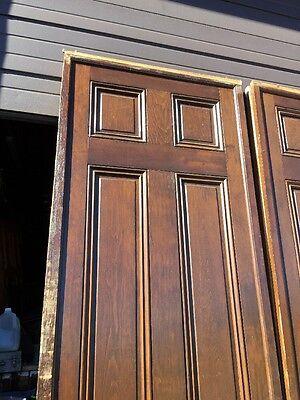 "Ar 139 1 Set Antique Raised Panel Pine Pocket Doors 70"" X 106"" 3"