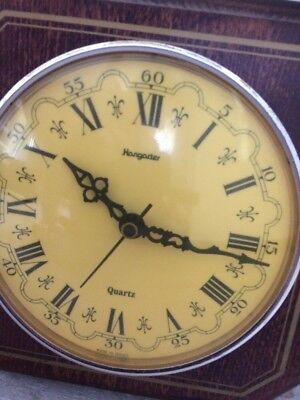 Ancienne Horloge Murale Bois Cadran Jaune Vintage Deco Chalet