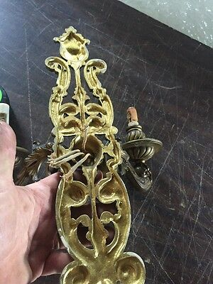 Lc 8 OnePair 2 Arm Heavy Cast Brass Wall Sconces Antique 11