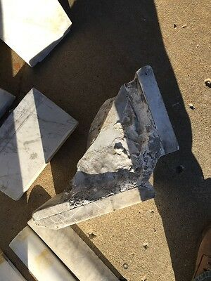 Antique White Marble Oversize Fireplace Mantle 11
