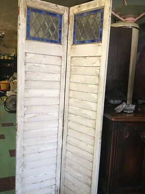Old Wooden Shutters With Leaded Stained Glass 2