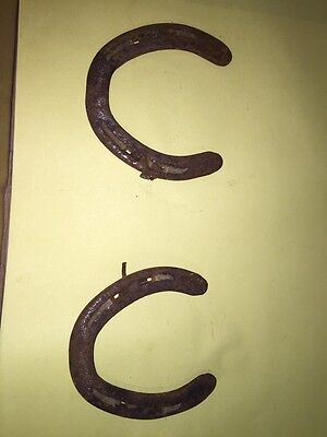 "barn find  IRON HORSESHOE GREAT GARDEN ART  2 Of 4.5"" horseshoes 3"