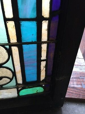 """Sg 403 Antique Stainglass Landing Window 27 In 0.125"""" X 44.5"""" Tall 7"""
