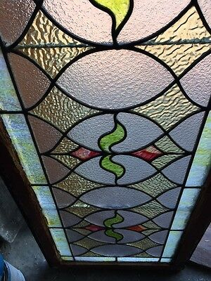 St 383 Antique Triple Sprout Stained Glass Transom Window 5