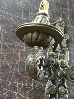 Lc 8 OnePair 2 Arm Heavy Cast Brass Wall Sconces Antique
