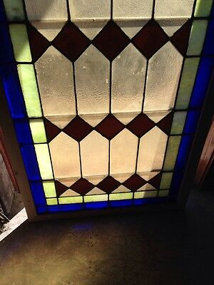 Sg 133 Antique Arch Top Stainglass Window Very Good 33.25 X 63.25 High 4
