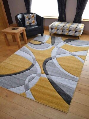 New Ochre Mustard Grey Modern Style Soft Thick Rug Small Extra Large Mat Cheap 2