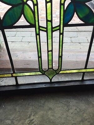 Sg 805 Antique Arts And Crafts Laurel Stainglass Window 6