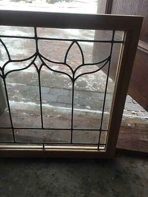 """Sg 493 Antique Leaded Glass Window In New Pine Frame 22"""" X 24"""""""