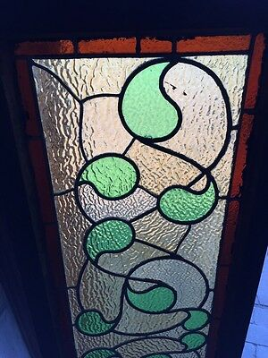 Sg 382 Antique Stainglass Window Green Waves 2
