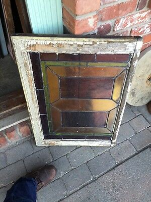 "Sg 283 Antique Stained Glass Geometric Window 21"" X 29"" 6"