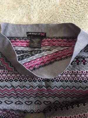 One Step Up Girls Gray Pink Black Hearts Geometric Knit Leggings XL 18 5