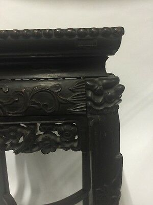 Antique Chinese Hardwood Carved Marble Inset Side table 2