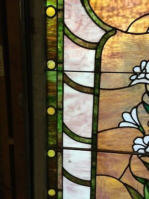 Sg 10 Gorgeous Antique Floral Landing Window Victorian Stained Glass 7