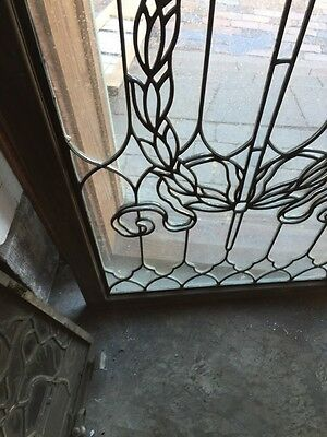 Sg 794 Antique Torch And Wreath Leaded Glass Window 7