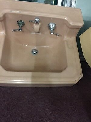Old Antique Vintage Faucet Peach Colored Wall Mount Sink 1932 4