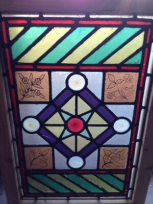 Sg 107 Antique Victorian Stained Glass Window With Rondell's And Painted Pieces 2