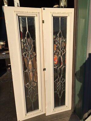 Bg 199 One Pair Antique Beveled Glass Sidelights Or Transom Windows 8