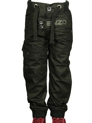 Boy's Babies Jeans Branded ENZO Designer Cuffed Straight Leg Black Pants 5