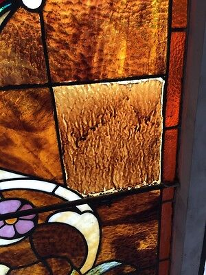 """Ca 10 Antique Stained Glass Landing Window With Jules 36"""" X 8' 9"""