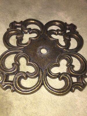 Vintage Drawer Pulls + Backplates, Mid-Century, Cast Mold, Bronze, Ajax Hardware 4