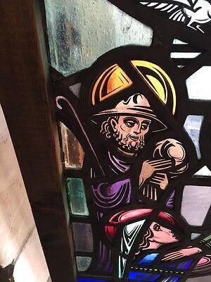 Sg 624 Very Beautiful Antique Religious Figure Window 4 Figures 4