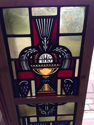 Sg 209 Antique Painted In Fired Religious Chalice Window 2