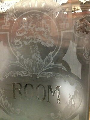 Antique Old Vintage Craftsman Art Deco Style Etched Glass Window Oak Tree Room 3