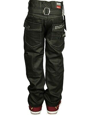 Boy's Babies Jeans Branded ENZO Designer Cuffed Straight Leg Black Pants 4