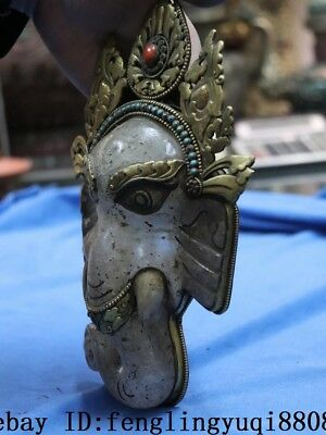 Tibetan Old Copper Gold Gilt Inlay Turquoise Coral Crystal Elephant Head Statue 7