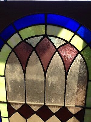 """Sg 131 Antique Arch Stained Glass Window 33.5"""" X 63.5"""" 2"""