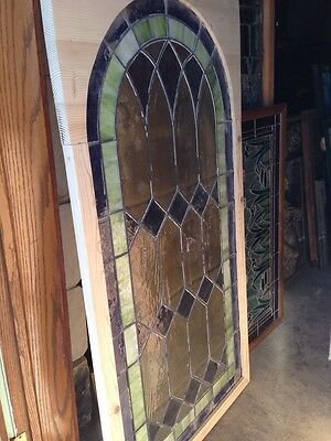 """Sg 131 Antique Arch Stained Glass Window 33.5"""" X 63.5"""" 5"""