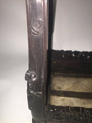 Antique Chinese Hardwood Carved Marble Inset Side table 9
