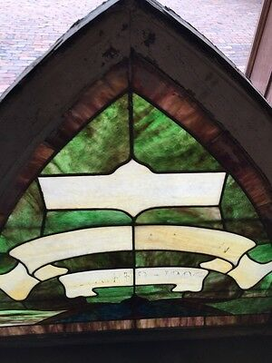 Sg 672 Antique Gothic Arch Top Stainglass Window Two Available Price Each 2