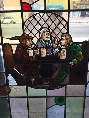 Old Stained Glass Window Men Drinking At A Pub With Accidental Glass Accents 4