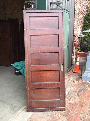 Rd 14 Antique Single Flat Panel Pine Pocket Door