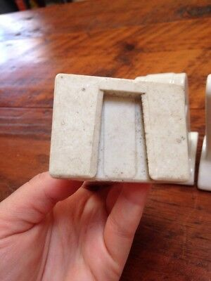 Vtg Antique Porcelain Art Deco Bathroom Towel Toilet Roll Brackets Set Various 6