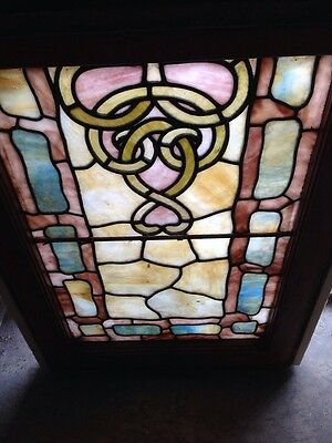 Sg 193 Antique Rudy Brothers Double Hung Stained Glass Landing Window