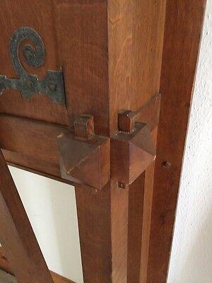 Antique Quartersawn Oak Fancy Mission Mantle With Clock 9